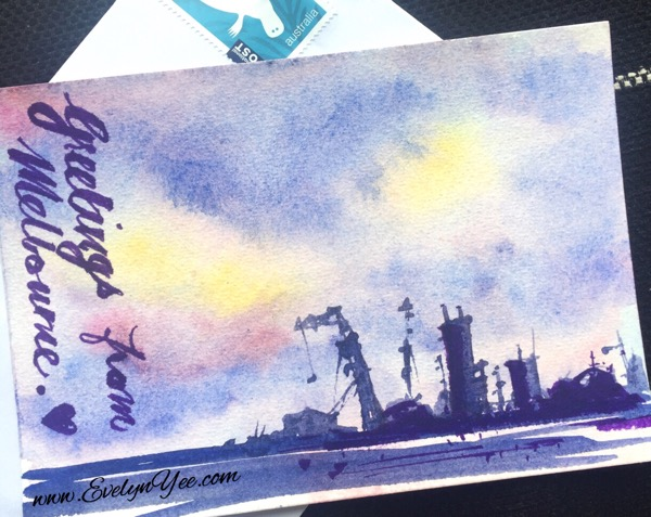 Postcard in watercolour by Evelyn Yee