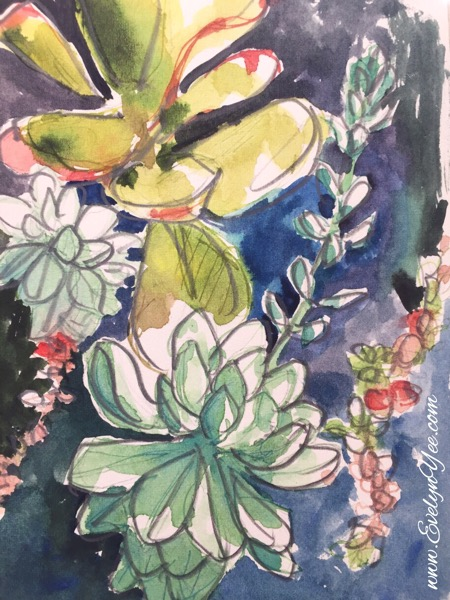 Succulents watercolour by Evelyn Yee