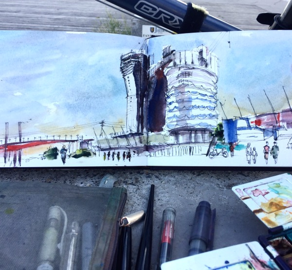 Docklands watercolour by Evelyn Yee