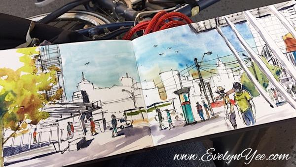 Yarra Promenade watercolour by Evelyn Yee