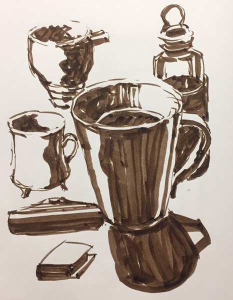 Still life with brush pen by Evelyn Yee
