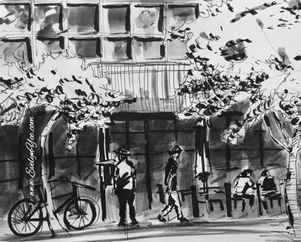 Brush pen monotone sketch by Evelyn Yee