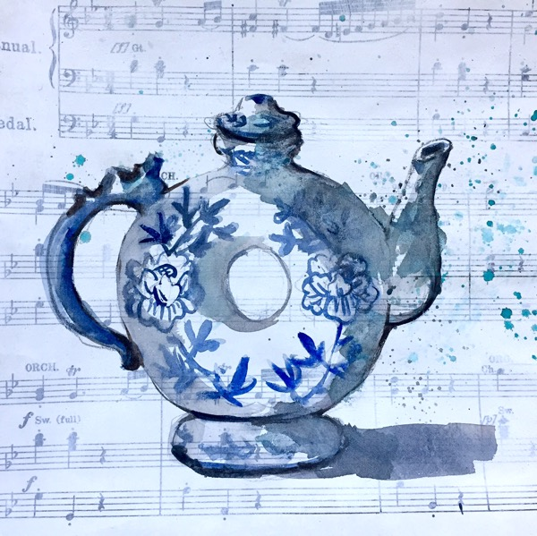 Watercolour teapot by Evelyn Yee