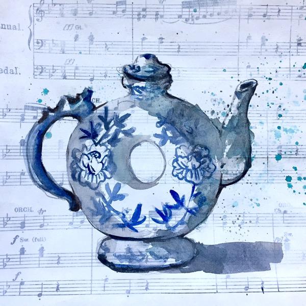 Watercolour teapot by Evelyn Yee