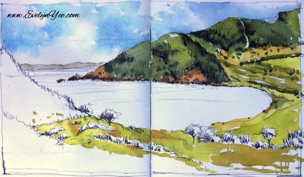Watercolour landscape by Evelyn Yee