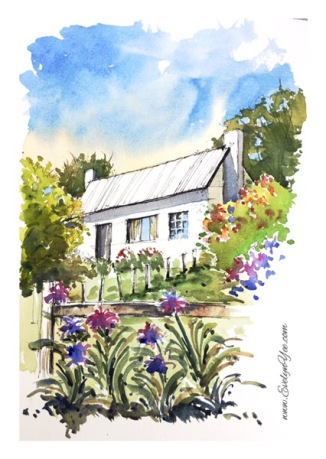 Garden watercolour by Evelyn Yee