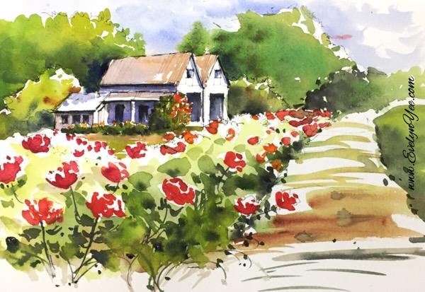 Garden watercolour by Evelyn Yee