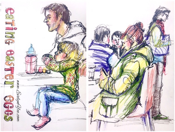People at a cafe by Evelyn Yee