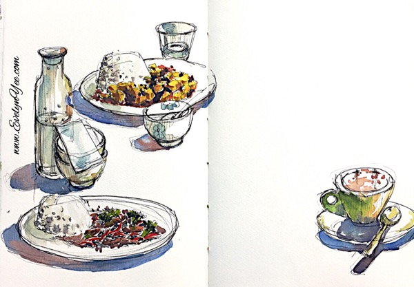 Chinese lunch watercolour by Evelyn Yee