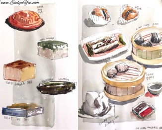 Asian snacks watercolour by Evelyn Yee
