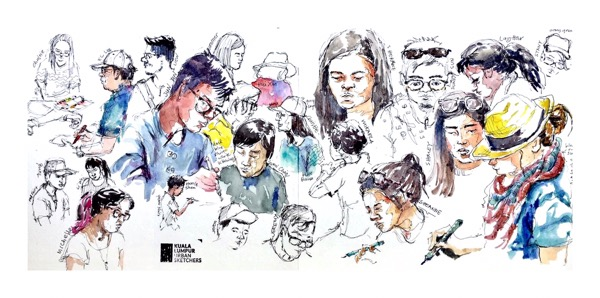 People in watercolour by Evelyn Yee