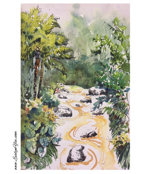 Malaysia river scene in Watercolour by Evelyn Yee