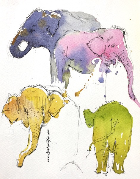 Elephants watercolour by Evelyn Yee