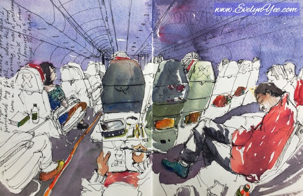 Plane sketch in watercolour by Evelyn Yee