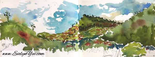 Malaysia Landscape in Watercolour by Evelyn Yee