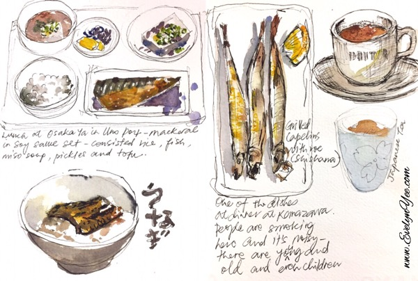 Japanese food sketch by Evelyn Yee
