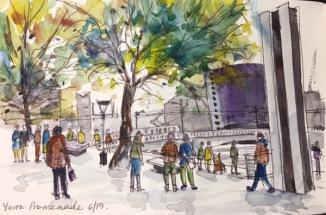 Crown Promenade watercolour By Evelyn Yee