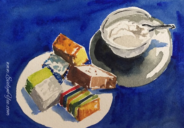 Malaysian snacks Watercolour by Evelyn Yee