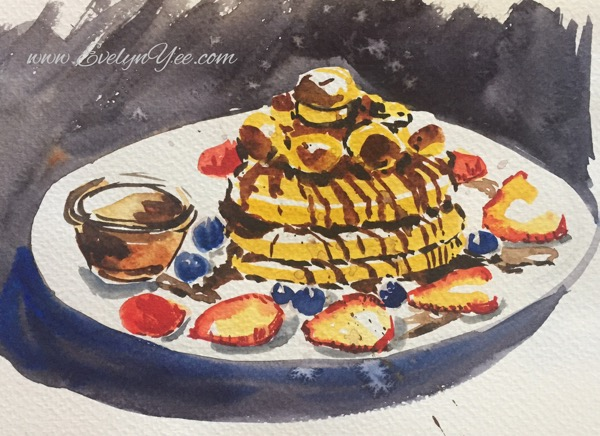 Watercolour pancakes by Evelyn Yee