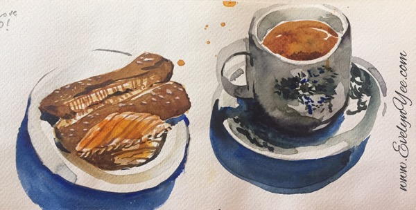Watercolour treats and coffee by Evelyn Yee