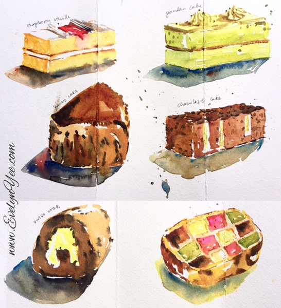 Watercolour cakes by Evelyn Yee