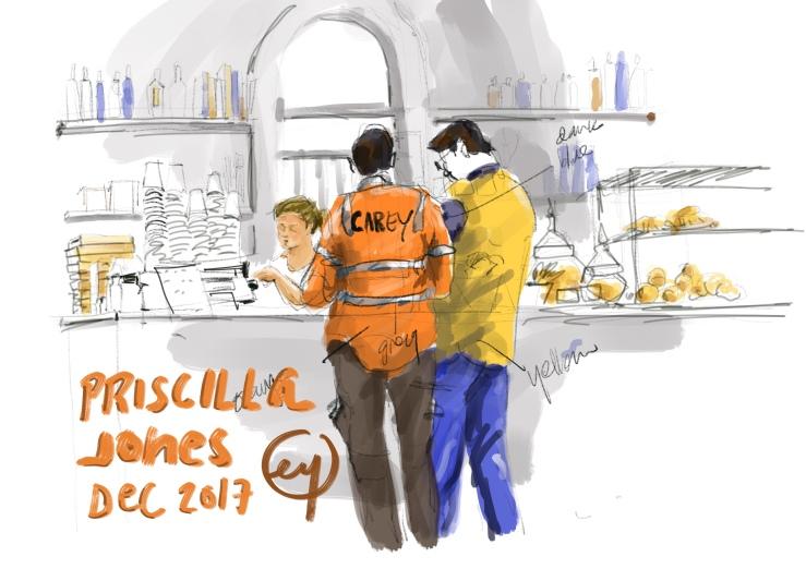 Urban sketch at Priscilla Jones by Evelyn Yee
