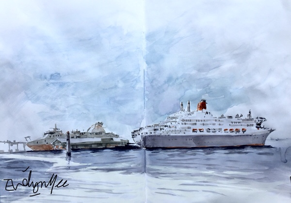 Queen Mary 2 ship by Evelyn Yee