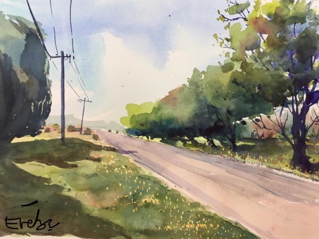 """""""Another day, another journey"""", Watercolour, 36x26cm, $250 (Fine Art Prints available $80 onwards)"""
