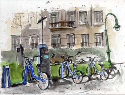 Watercolour, Melbourne Blue Bikes, $140