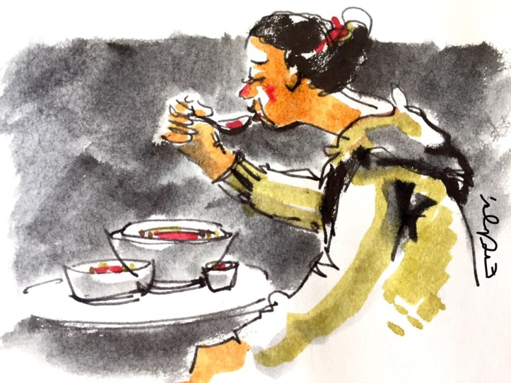 Person eating - watercolour by Evelyn Yee