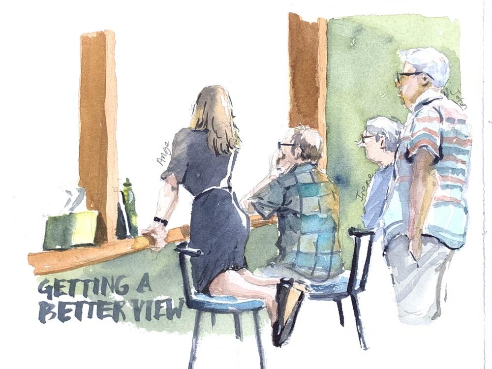 Tennis spectators - watercolour by Evelyn Yee