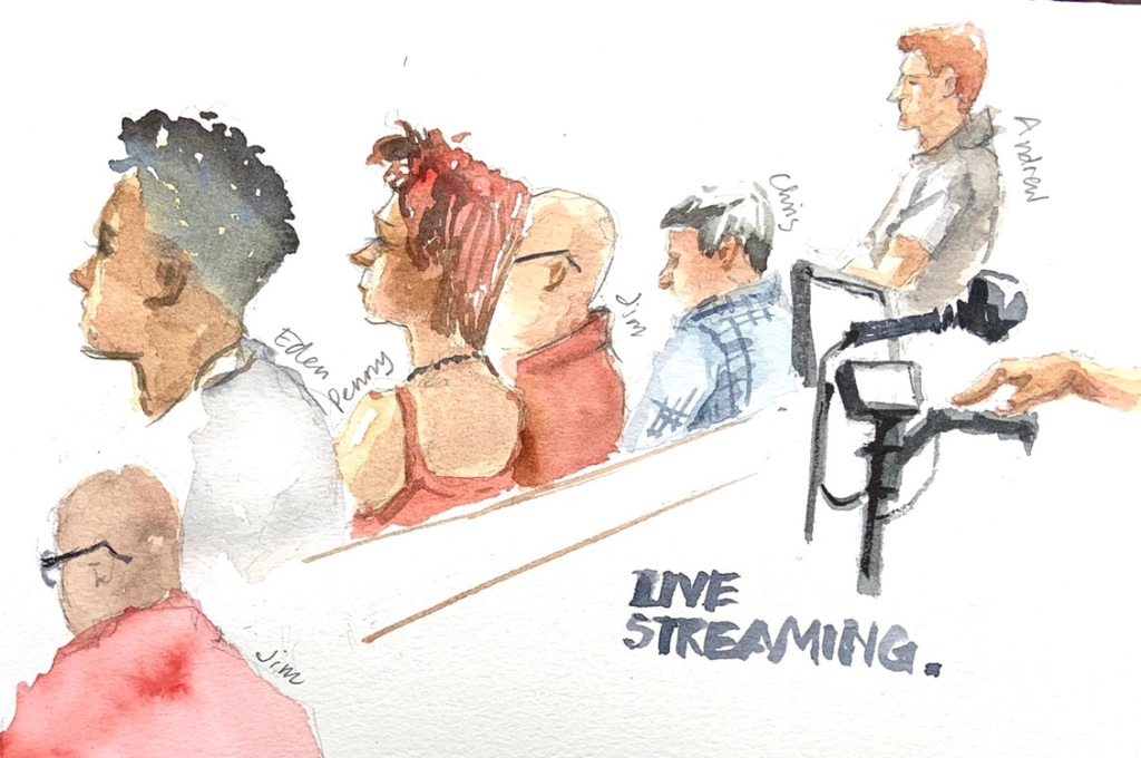 Tennis Spectators and marker sketch by Evelyn Yee