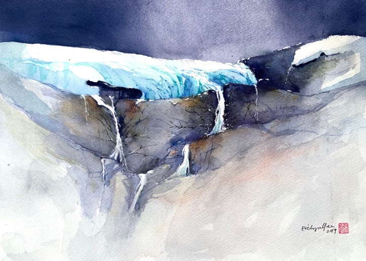 Glacier watercolour by Evelyn Yee