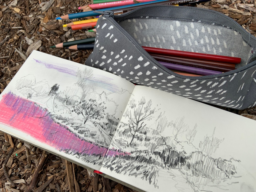 Pink Lake - graphite sketch by Evelyn Yee