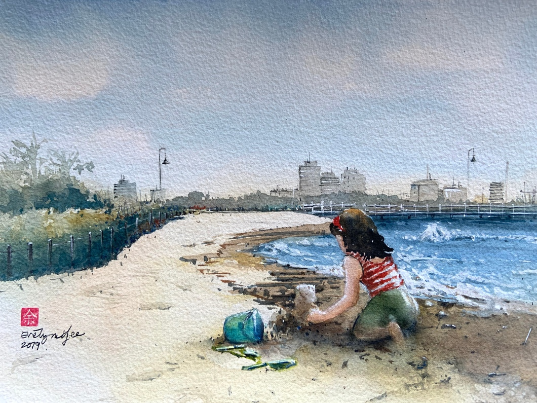 Girl on a beach - watercolour by Evelyn Yee