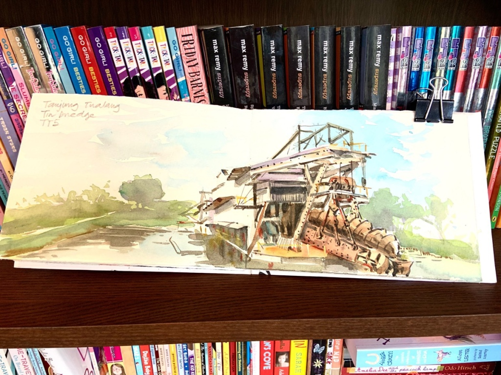 Mining Dredge watercolour sketch by Evelyn Yee