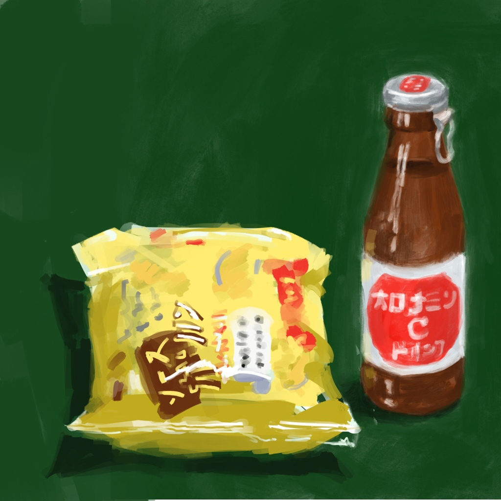 Drink and food - Ipad painting by Evelyn Yee