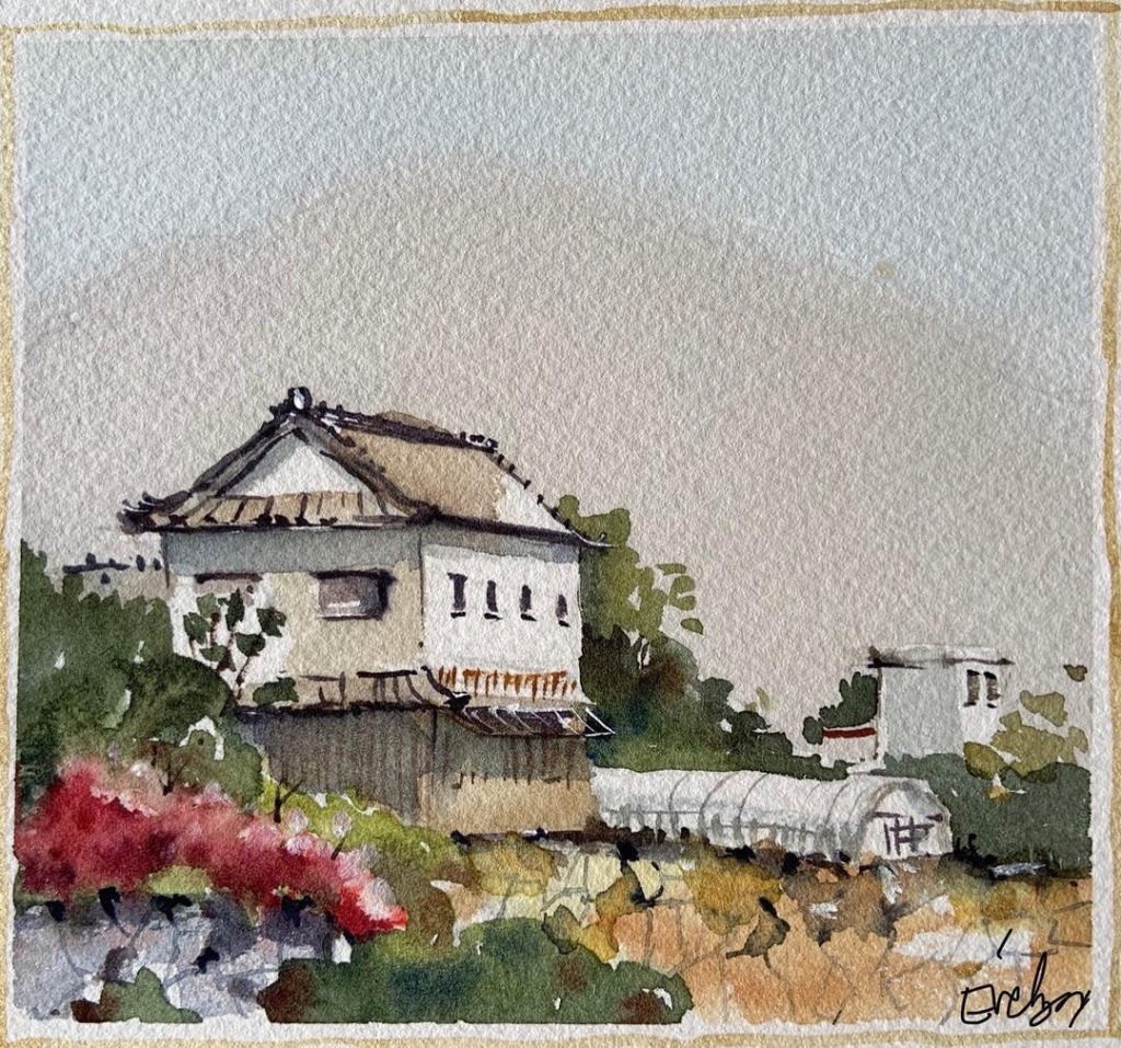 Japan scene, watercolour by Evelyn Yee