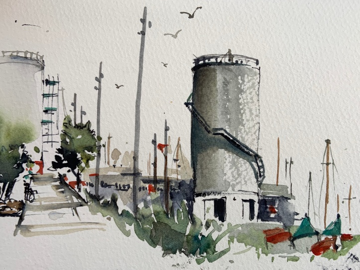 Silo Park - Watercolour by Evelyn Yee