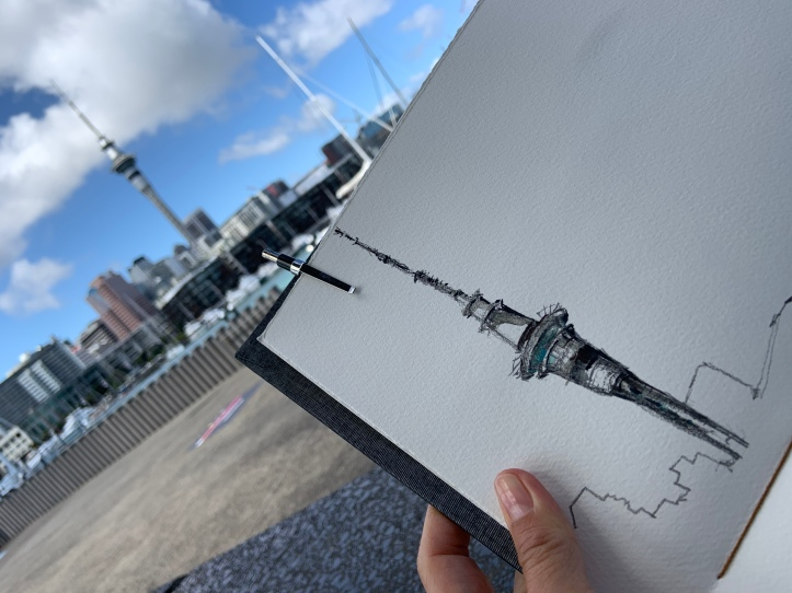 Sky Tower - Watercolour by Evelyn Yee