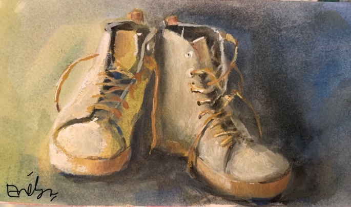 Shoes in Gouache by Evelyn Yee