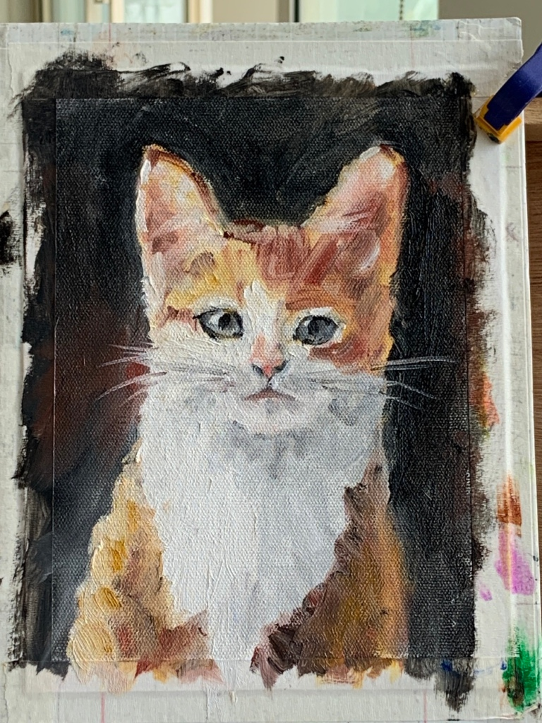 Oil painting of a kitten